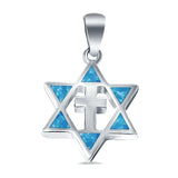 Lab Created Opal Star of David with Cross 925 Sterling Silver Charm Pendant