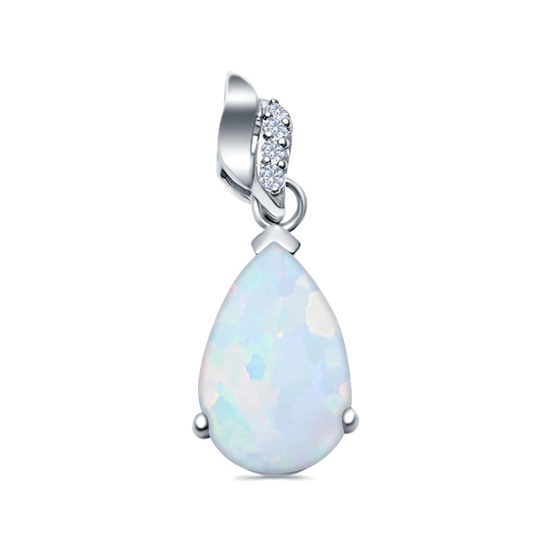 Pear Shape Lab Created Opal & Simulated Cubic Zirconia 925 Sterling Silver Charm Pendant