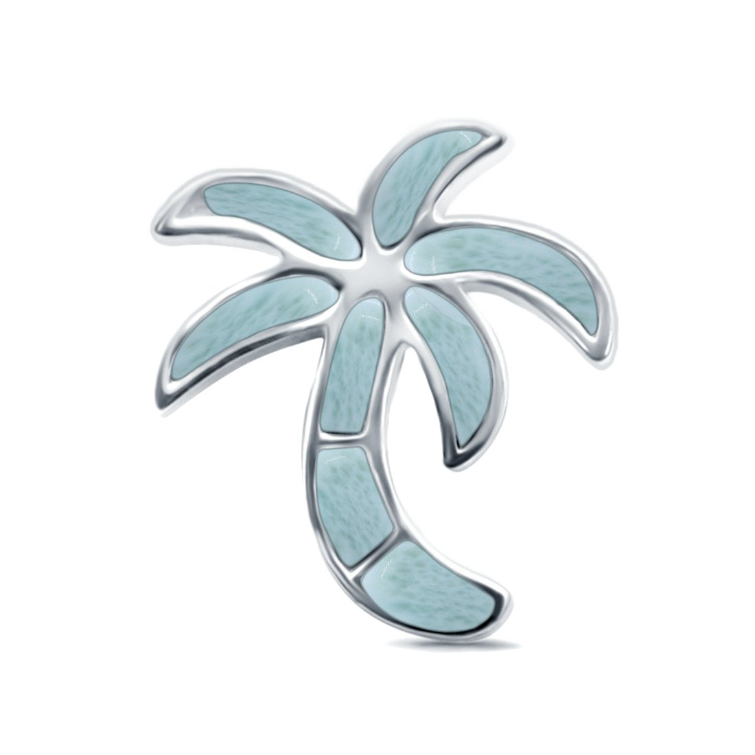 Lab Created Opal Palm Tree Charm Pendant 925 Sterling Silver