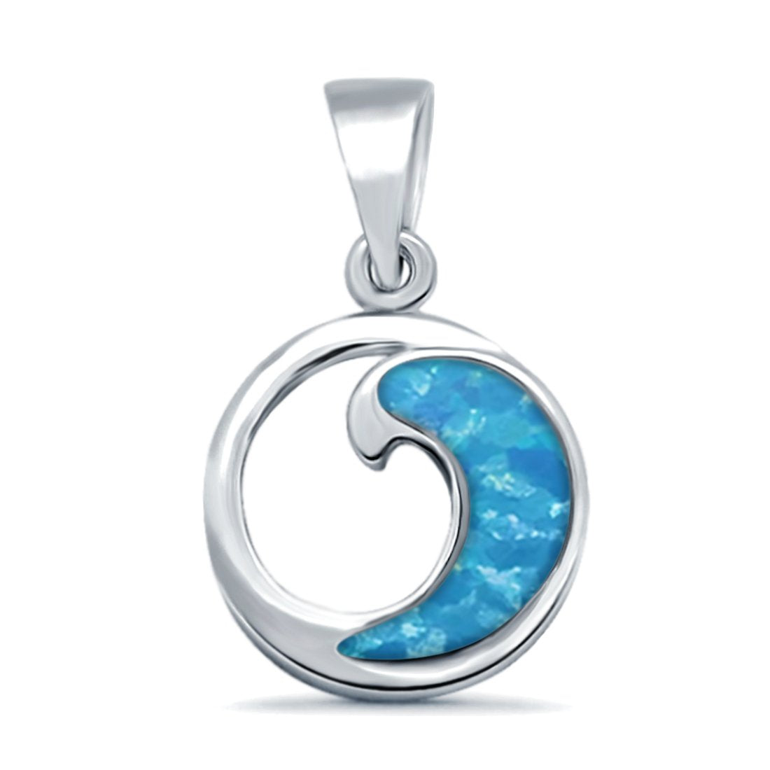 Lab Created Opal Wave Design 925 Sterling Silver Charm Pendant
