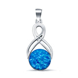 Lab Created Opal Celtic 925 Sterling Silver Charm Pendant