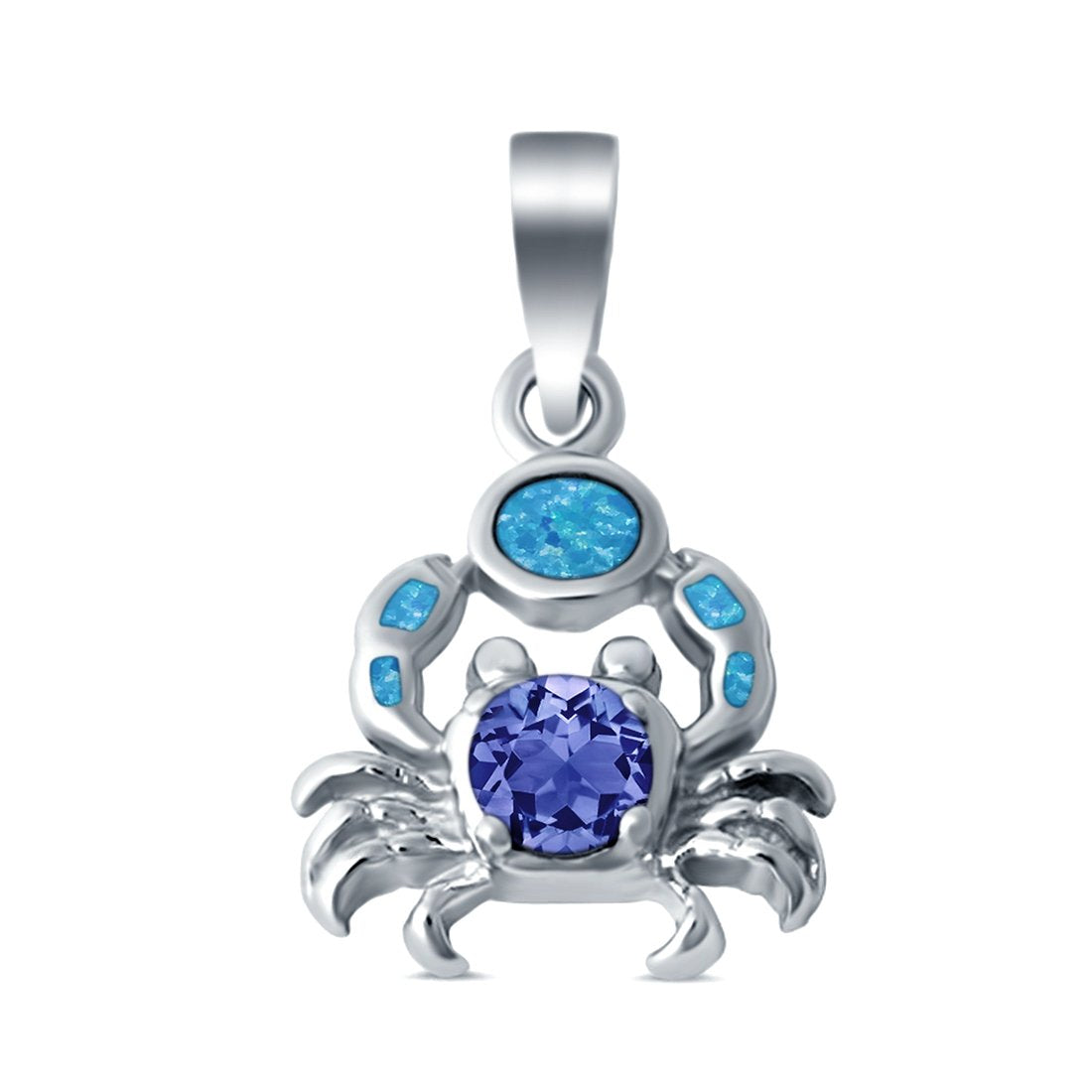 Crab Charm Pendant Simulated Tanzanite Lab Created Opal 925 Sterling Silver
