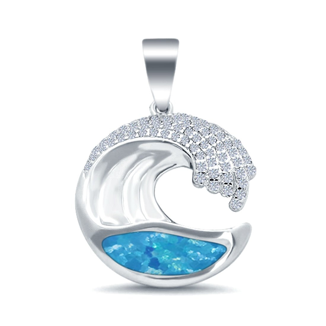 Details about  /.925 Sterling Silver Simulated Opal Open Work   Pendant Necklace