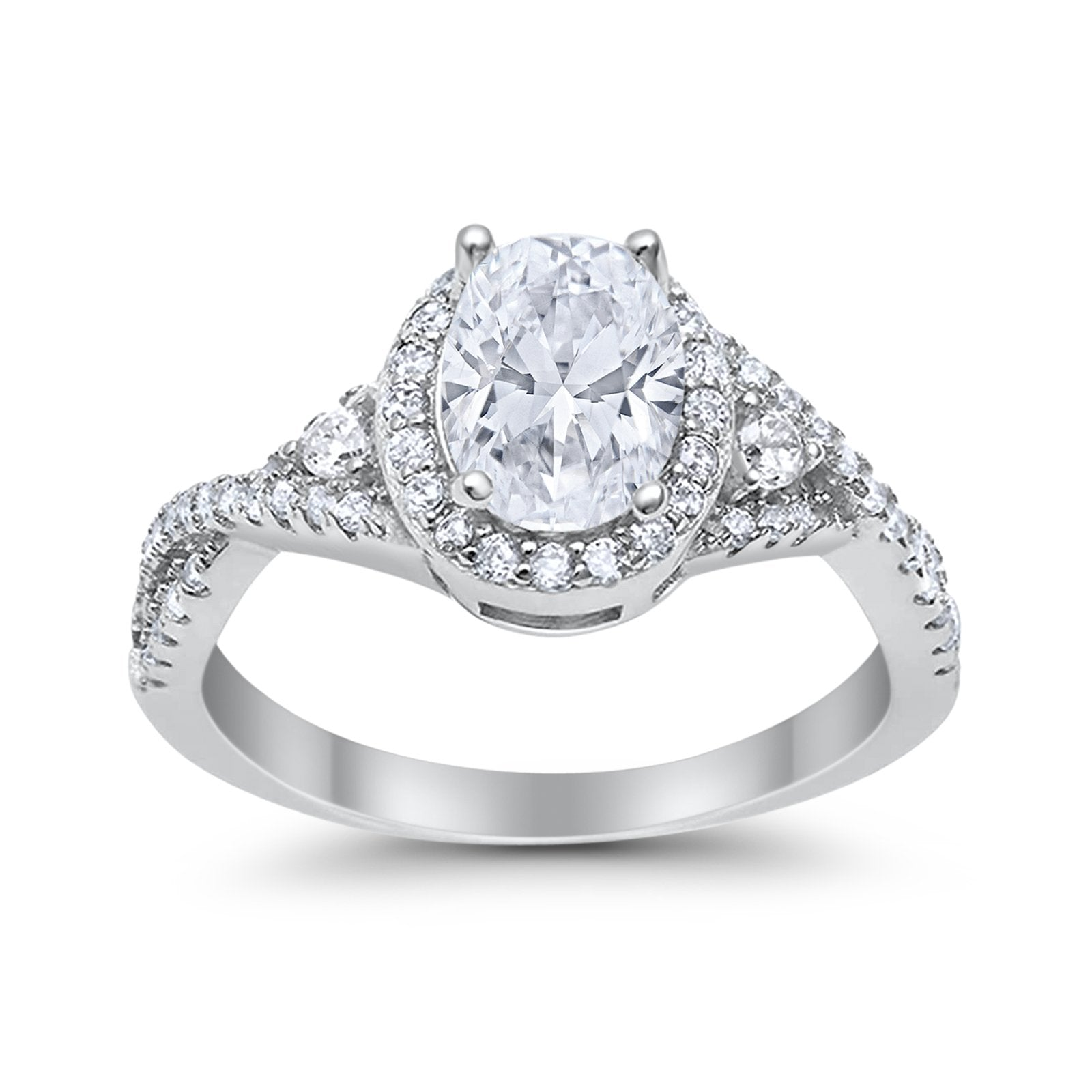 Halo Wedding Ring Simulated Simulated Cubic Zirconia 925 Sterling Silver