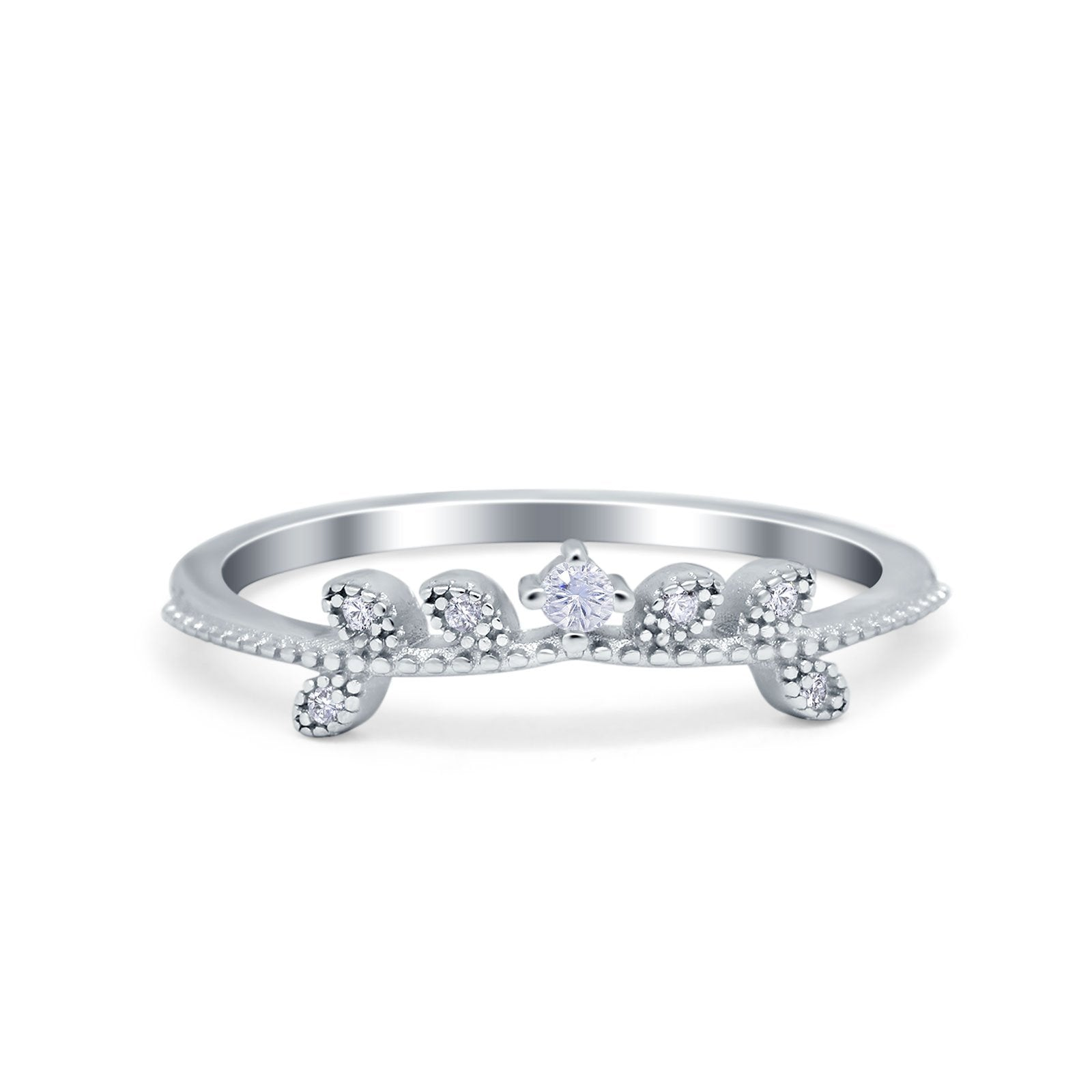 Wedding Band Petite Dainty Eternity Ring Round Simulated CZ 925 Sterling Silver