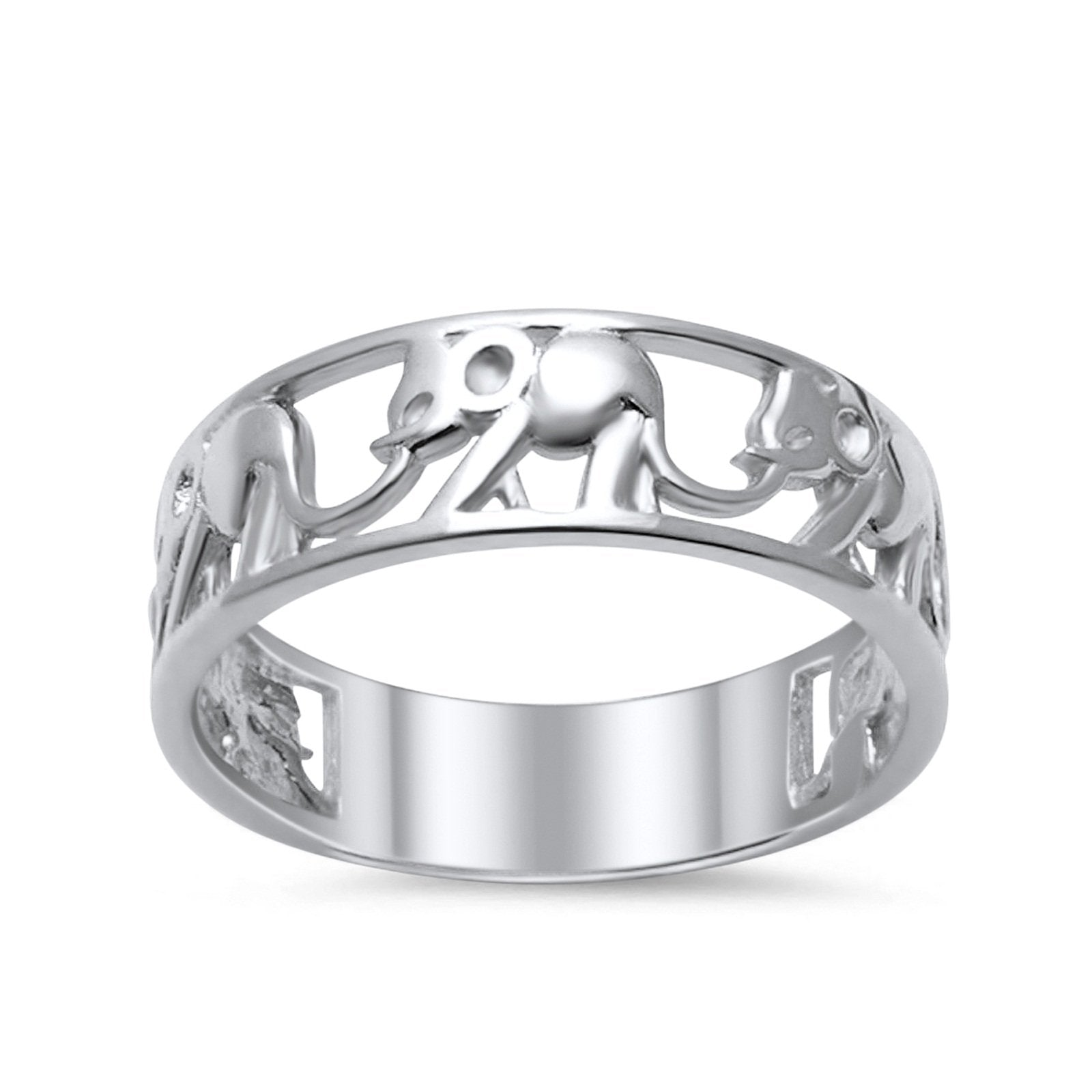 Sterling Silver Ring Plain Elephant Band 925 Sterling Silver