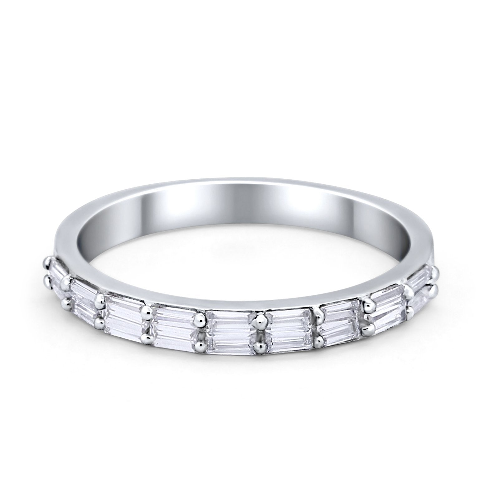 Half Eternity Wedding Band Ring Baguette Simulated CZ 925 Sterling Silver