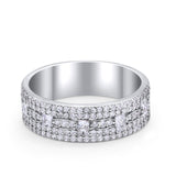 Wedding Band Ring Eternity Round Princess Cut Simulated CZ 925 Sterling Silver