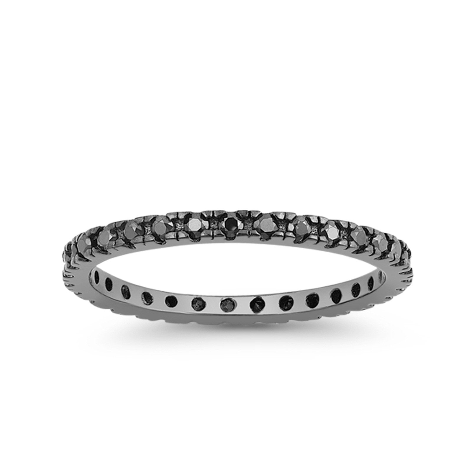 Stackable Full Eternity Wedding Band Ring Simulated CZ 925 Sterling Silver