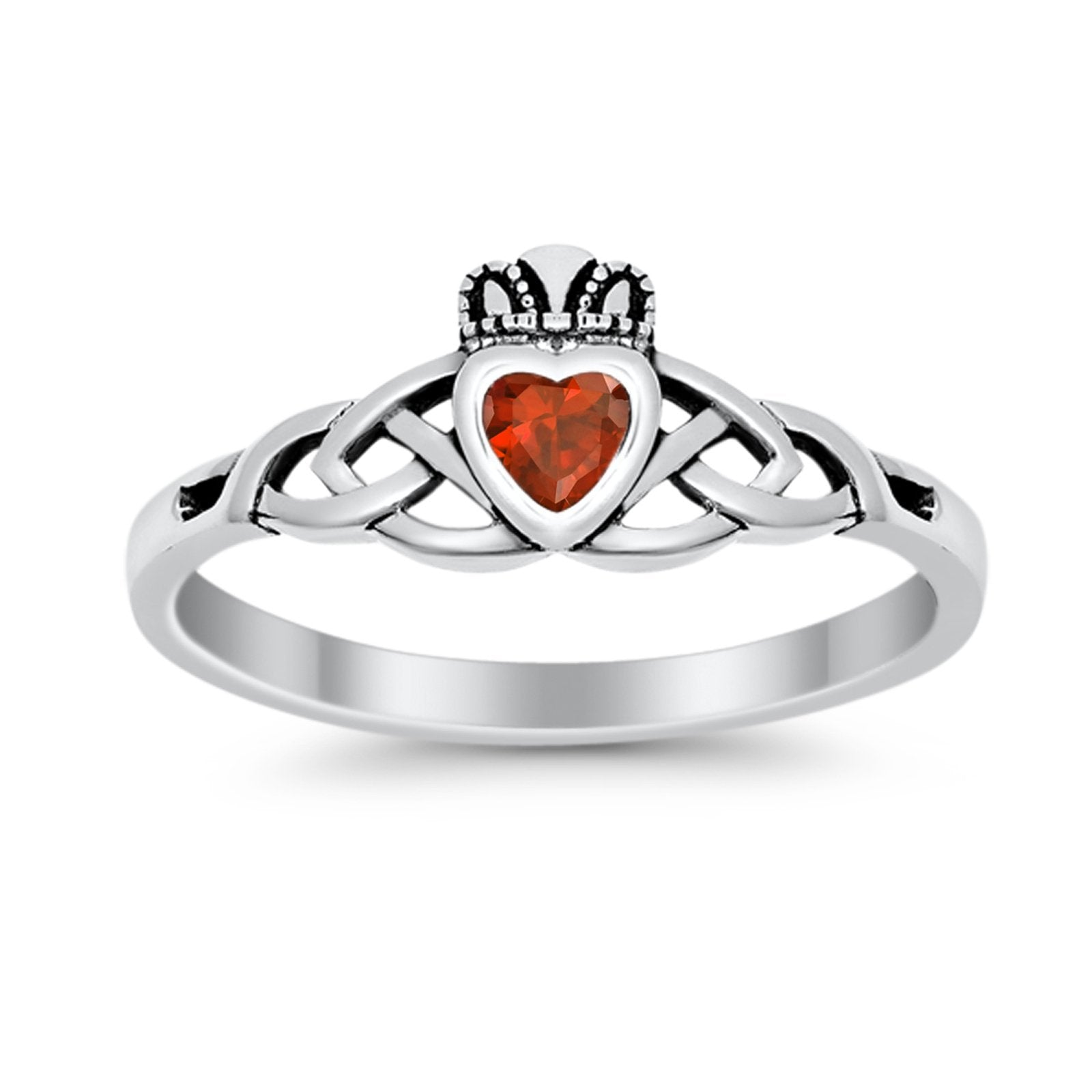 Celtic Knot Claddagh Ring Simulated Cubic Zirconia 925 Sterling Silver