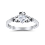 Irish Claddagh Heart Promise Ring Simulated Cubic Zirconia 925 Sterling Silver