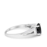 Solitaire Split Shank Wedding Ring Simulated Cubic Zirconia 925 Sterling Silver