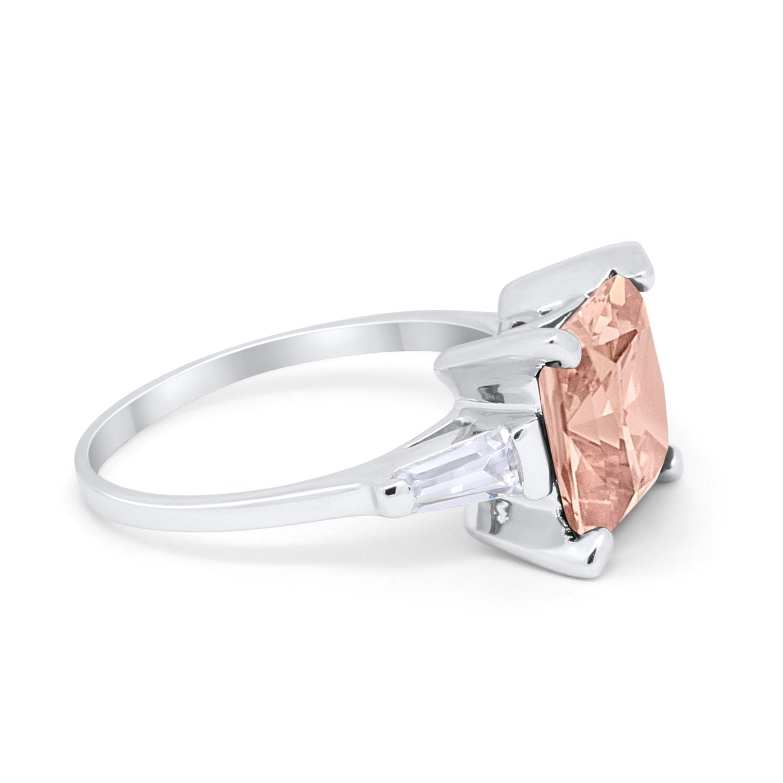 Wedding Ring Princess Cut Baguette Simulated Cubic Zirconia 925 Sterling Silver