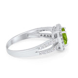 Dazzling Halo Wedding Ring Simulated Cubic Zirconia 925 Sterling Silver
