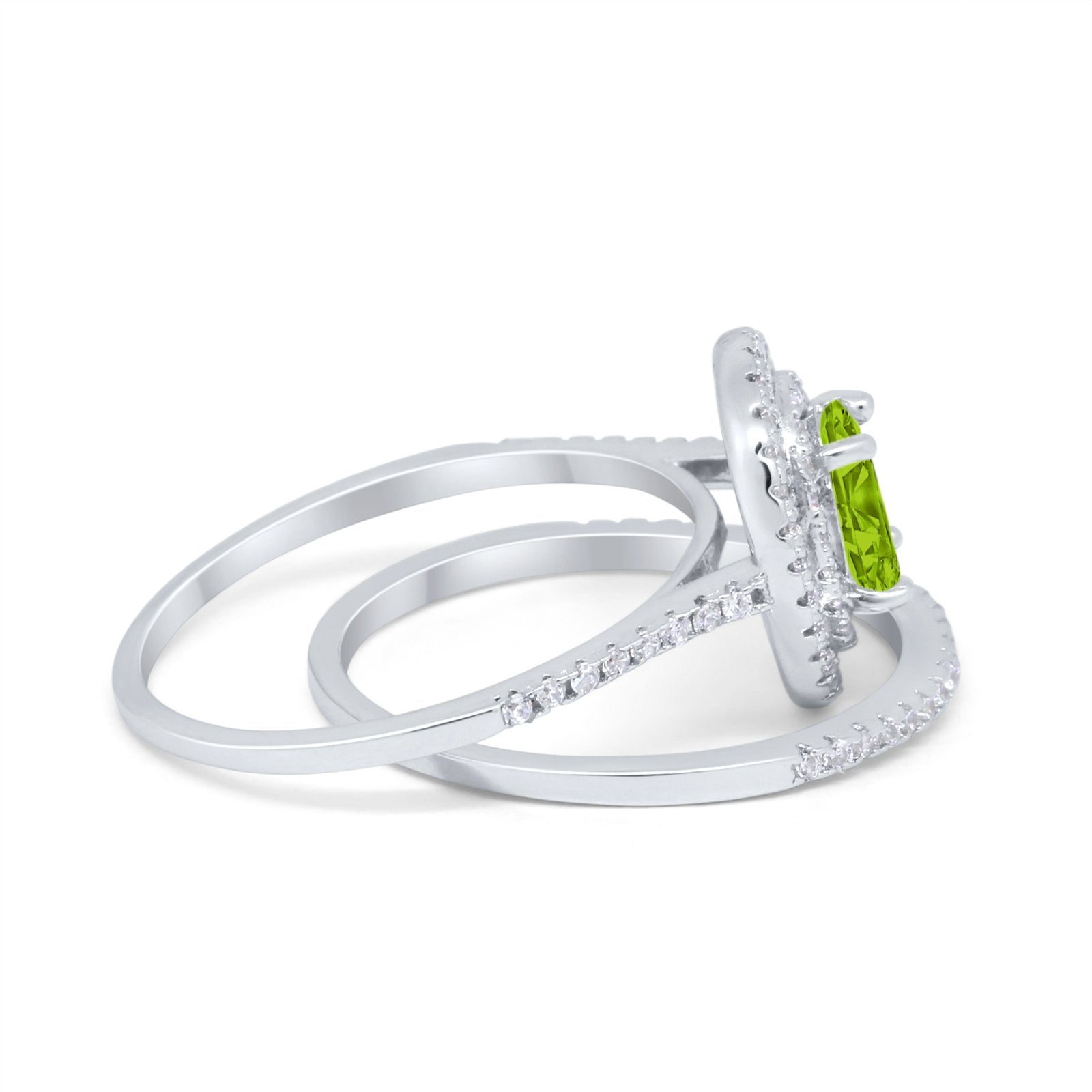 Halo Wedding Piece Bridal Ring Oval Simulated Cubic Zirconia Sterling Silver