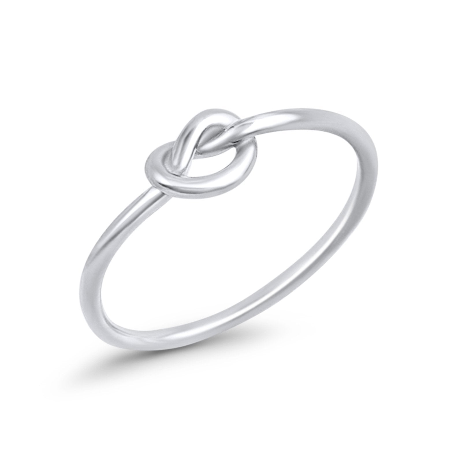 Tangled Love Knot Heart Ring Band Promise Plain Ring 925 Sterling Silver