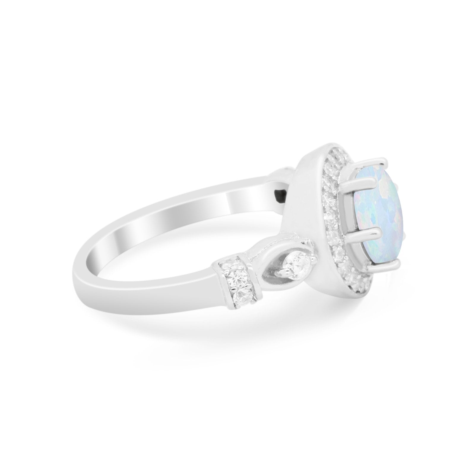 Halo Engagement Ring Simulated Cubic Zirconia 925 Sterling Silver