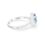 Halo Princess Cut Wedding Ring Simulated Cubic Zirconia 925 Sterling Silver
