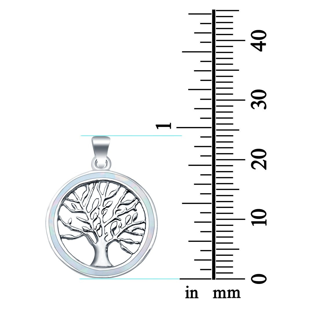 Tree of Life Charm Pendant Round Lab Created Opal 925 Sterling Silver Pendant