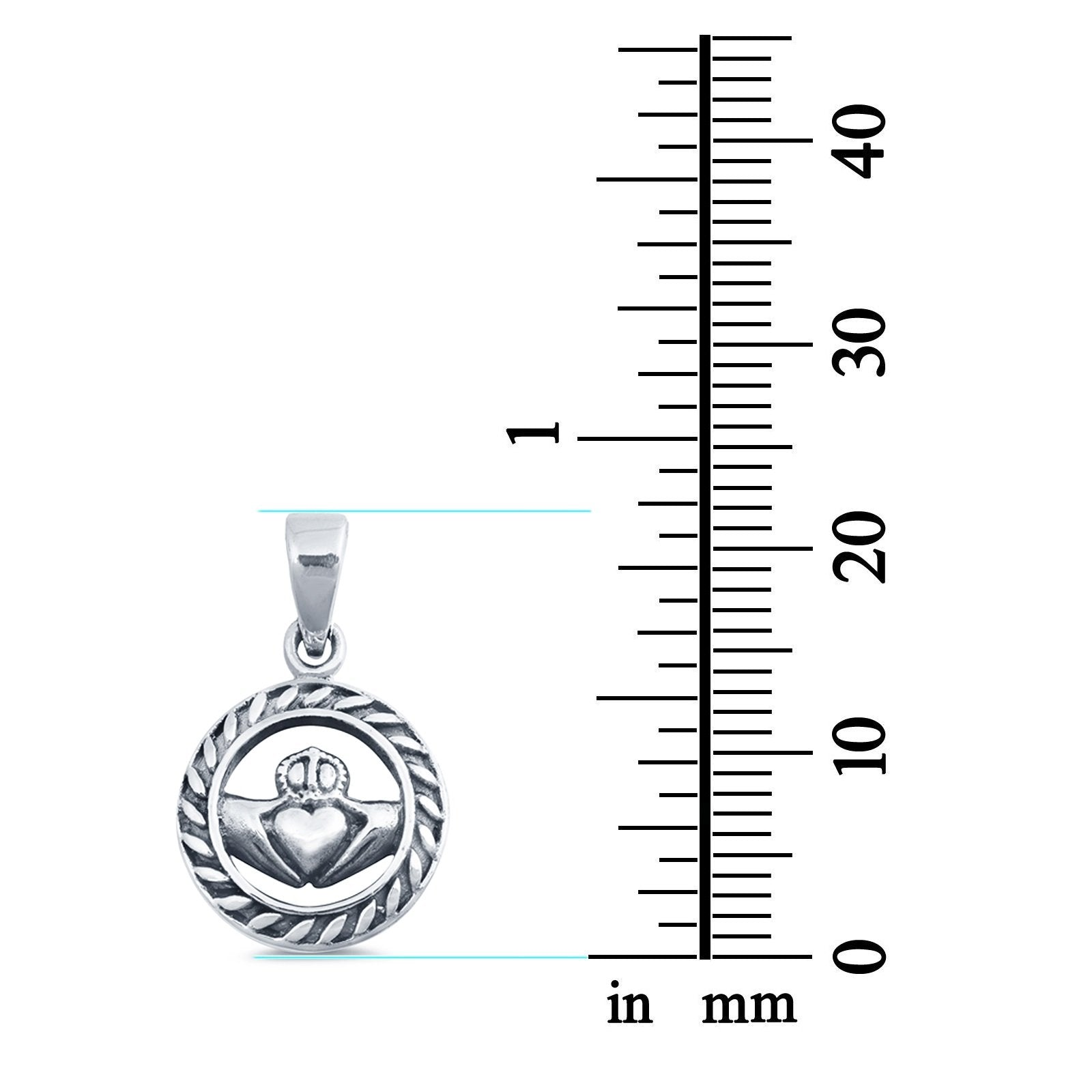 Silver Claddagh Pendant Charm Fashion Jewelry 925 Sterling Silver