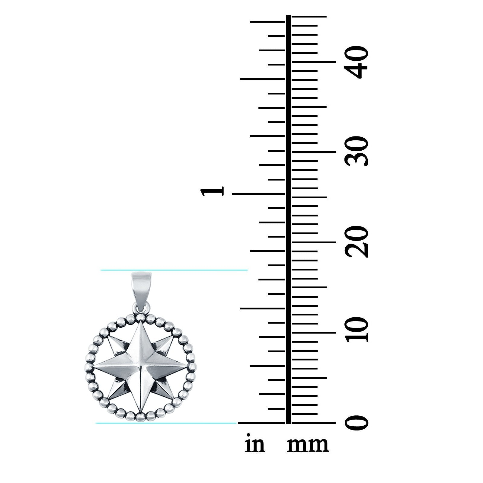 Sterling Silver Compass Arrow Pendant Charm 925 Sterling Silver (17mm)