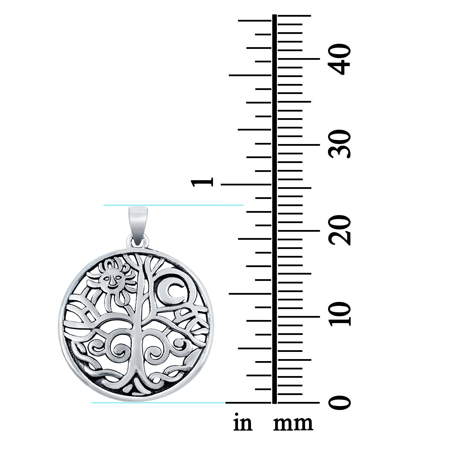 Pendant Sun, Moon & Tree Fashion Jewelry Round 925 Sterling Silver