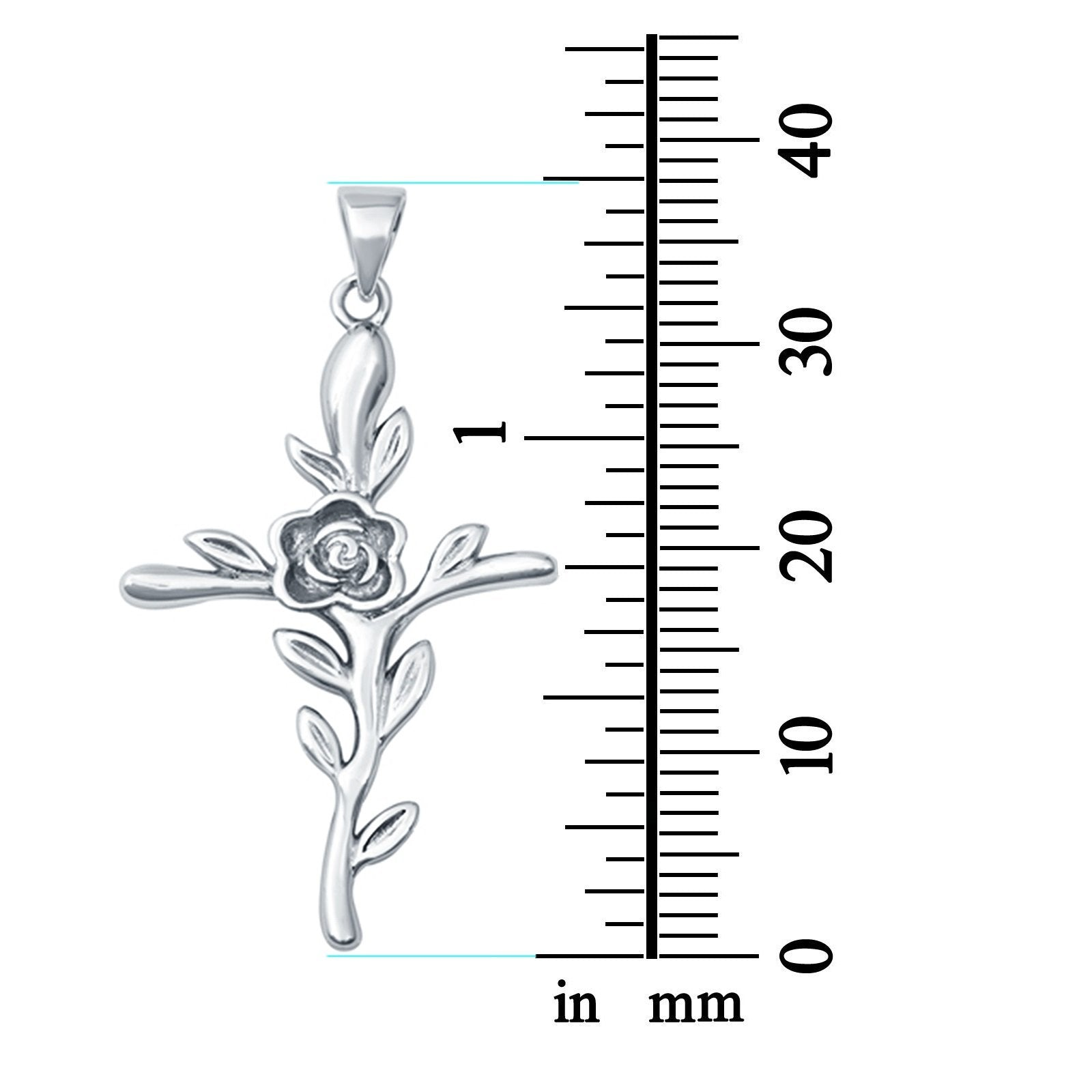Cross Charm Pendant Flower Round 925 Sterling Silver