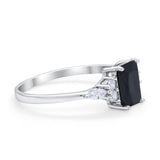 Art Deco Wedding Ring Marquise Simulated Cubic Zirconia 925 Sterling Silver