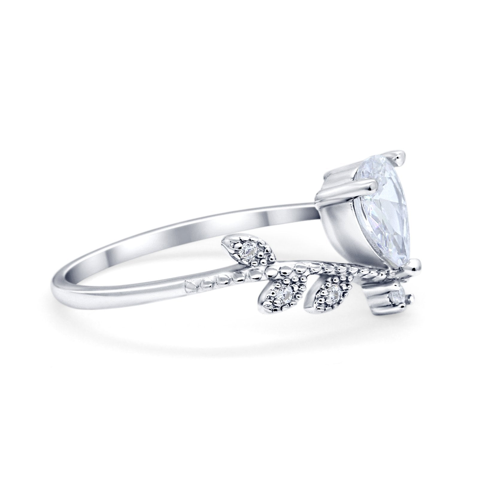 Midi V Style Wedding Ring Pear Round Simulated Cubic Zirconia 925 Sterling Silver