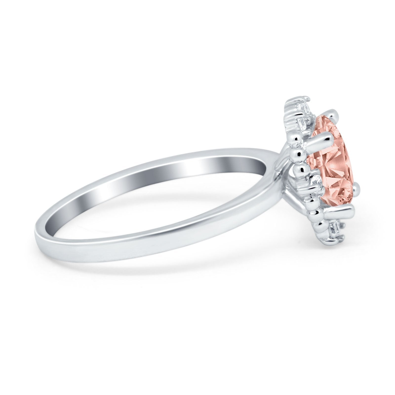 Halo Style Oval Engagement Ring Simulated Cubic Zirconia 925 Sterling Silver