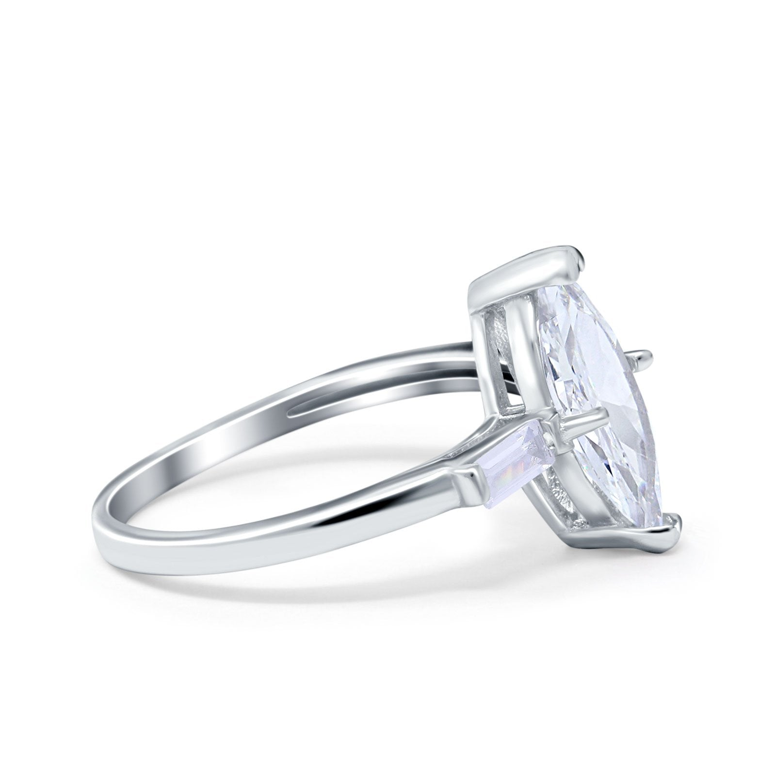 Art Deco Marquise Simulated Cubic Zirconia Engagement Ring 925 Sterling Silver