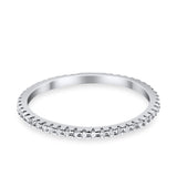 Full Eternity Stackable Wedding Ring Pave Round Simulated CZ 925 Sterling Silver