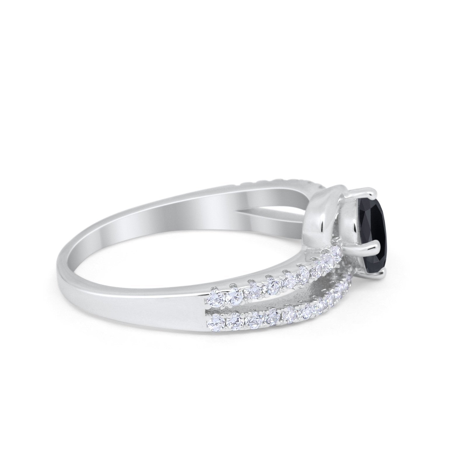 Accent Fashion Wedding Ring Oval Simulated Cubic Zirconia 925 Sterling Silver