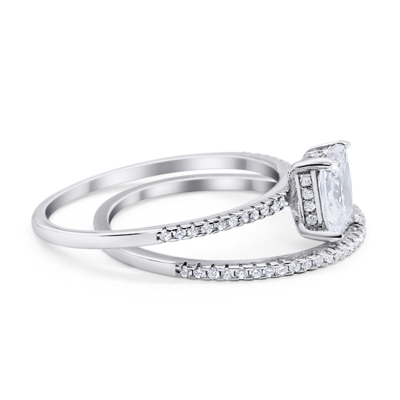 Solitaire Accent Wedding Piece Ring Simulated Cubic Zirconia 925 Sterling Silver