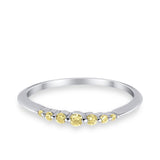 Thin Half Eternity Wedding Band Ring Round Simulated CZ 925 Sterling Silver
