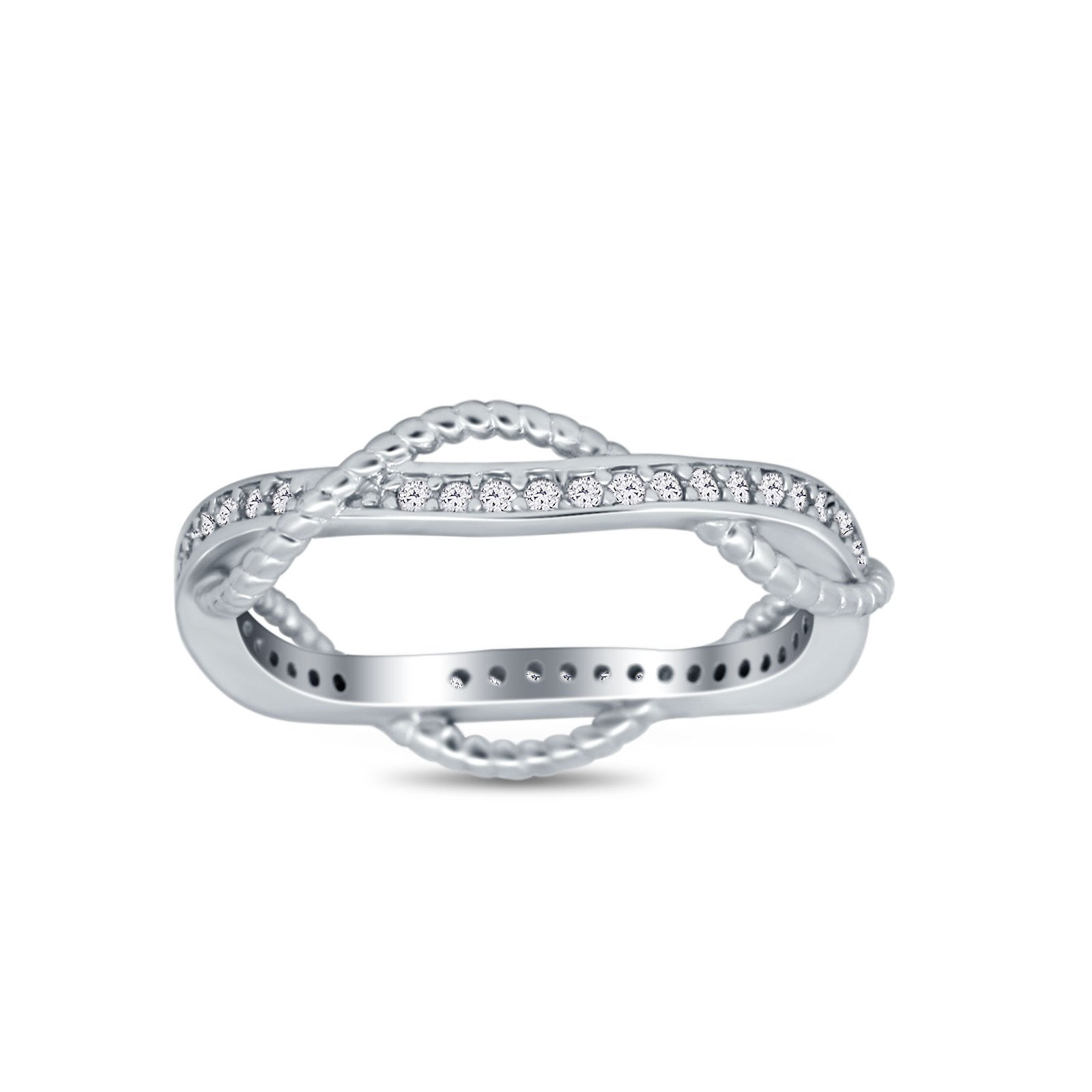 Infinity Braided Eternity Style Band Ring Round Simulated CZ 925 Sterling Silver