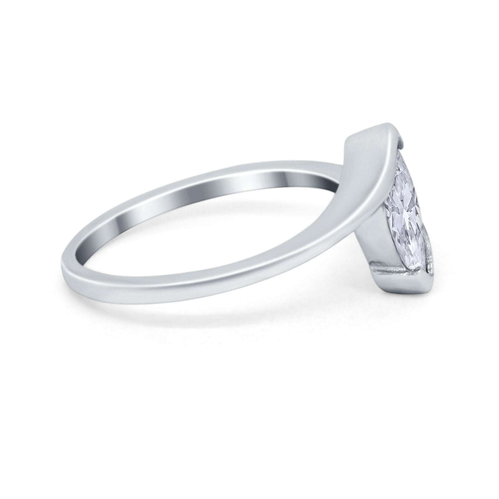 Marquise Swirl Wedding Ring Simulated Cubic Zirconia 925 Sterling Silver