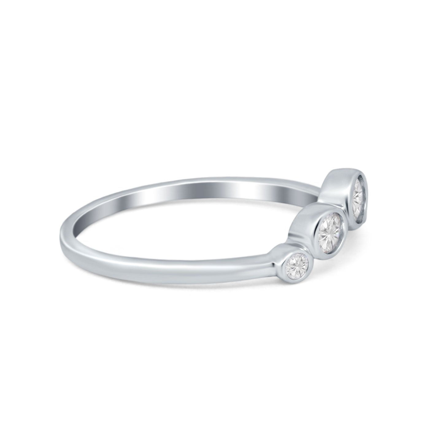 Curved Thumb Ring Wedding Round Bezel Eternity Simulated CZ 925 Sterling Silver