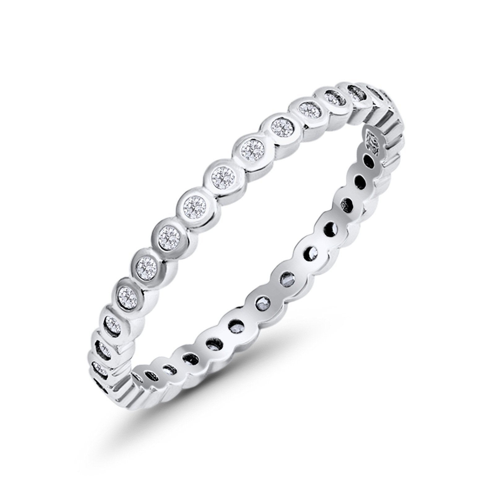 Full Eternity Stackable Wedding Band Ring Round Simulated CZ 925 Sterling Silver