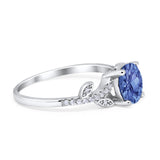 Leaf Style Wedding Ring Round Simulated Cubic Zirconia 925 Sterling Silver