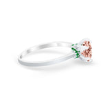 Simulated Emerald Accent Cubic Zirconia 925 Sterling Silver Wedding Ring