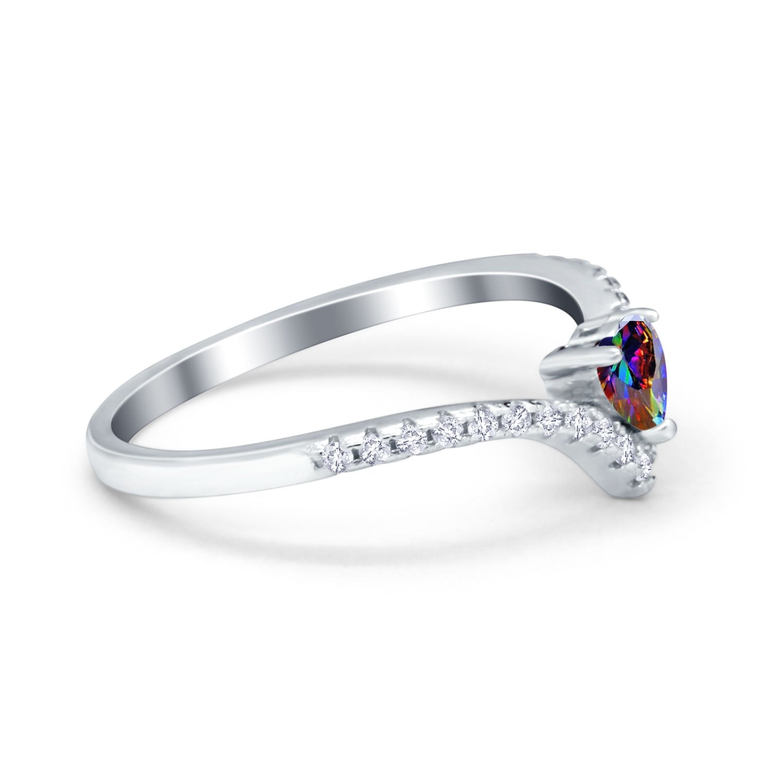 Chevron Midi V Ring Heart Simulated Stone Cubic Zirconia 925 Sterling Silver