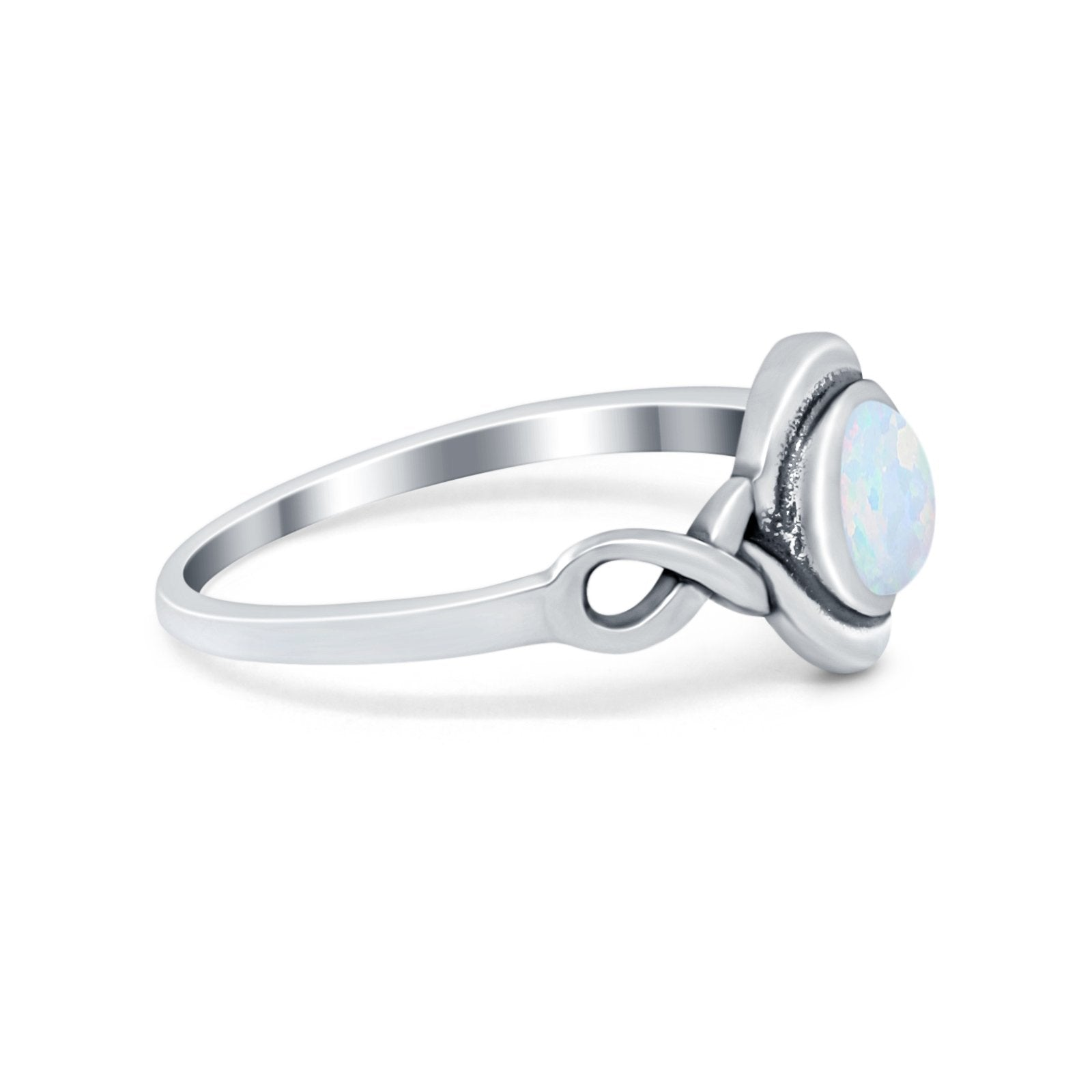 Celtic Trinity Ring Simulated Cubic Zirconia Infinity Shank 925 Sterling Silver