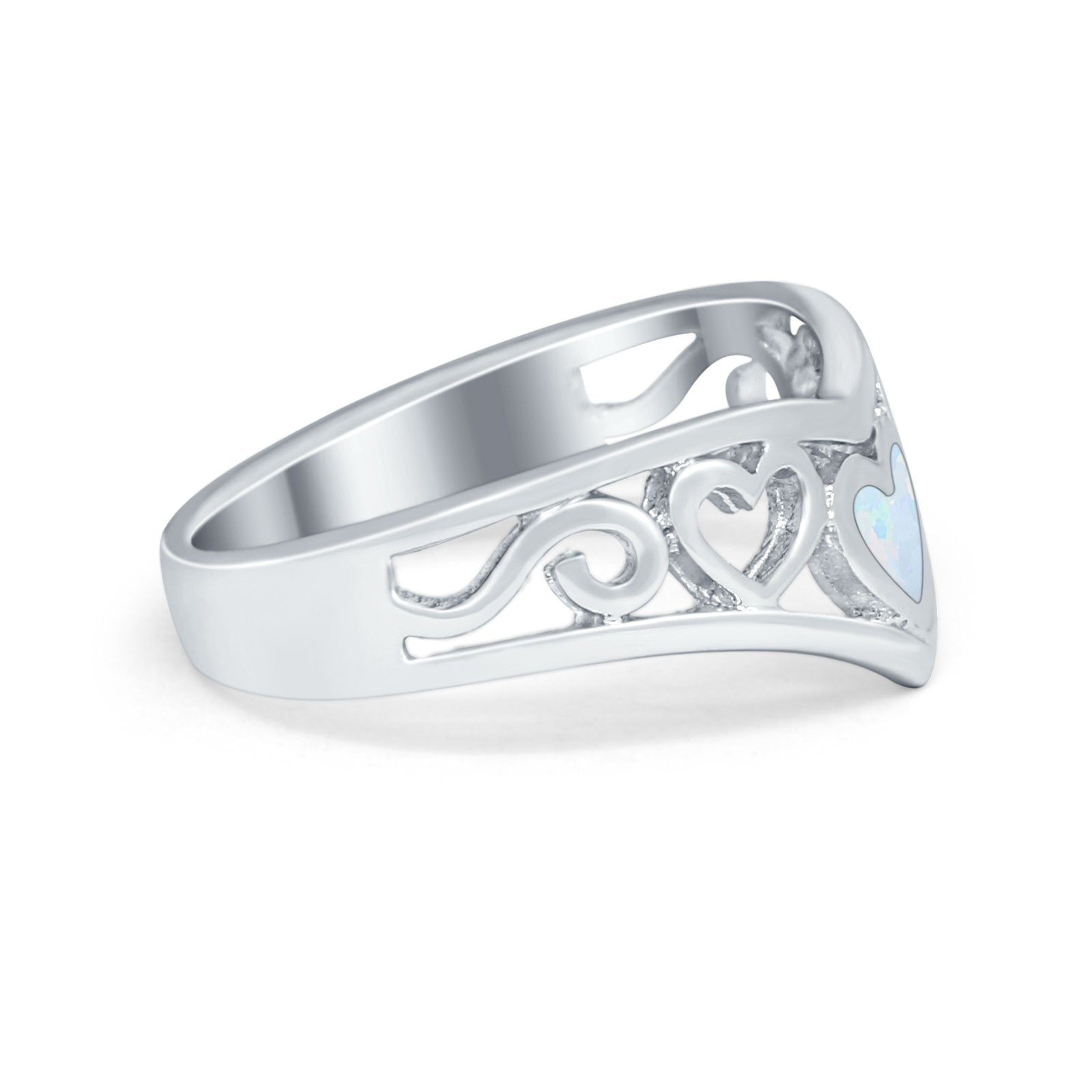Heart Filigree Midi Thumb V Ring Simulated Cubic Zirconia 925 Sterling Silver