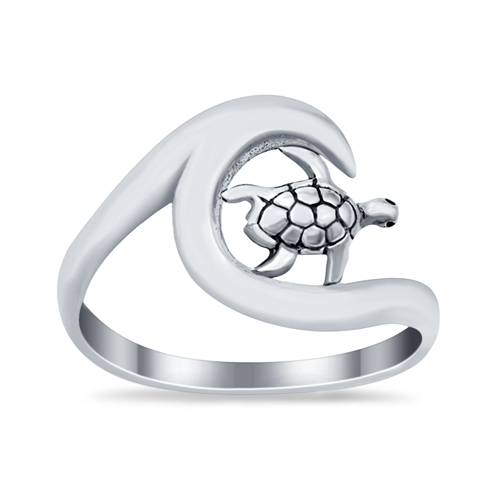 Wave Turtle Band Ocean Wave Summer Plain Ring Round 925 Sterling Silver