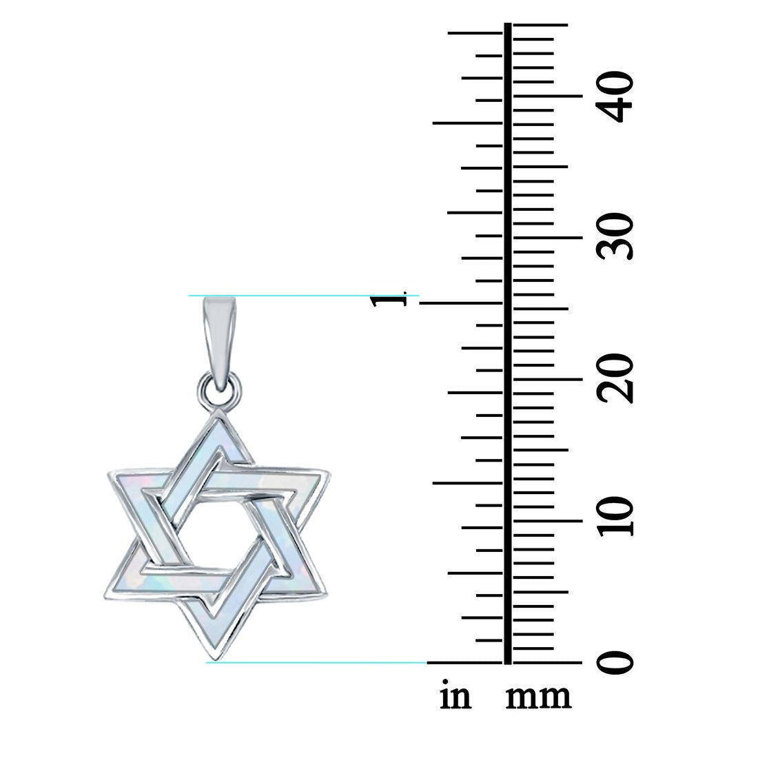 Lab Created Opal Star of David Charm Pendant .925 Sterling Silver