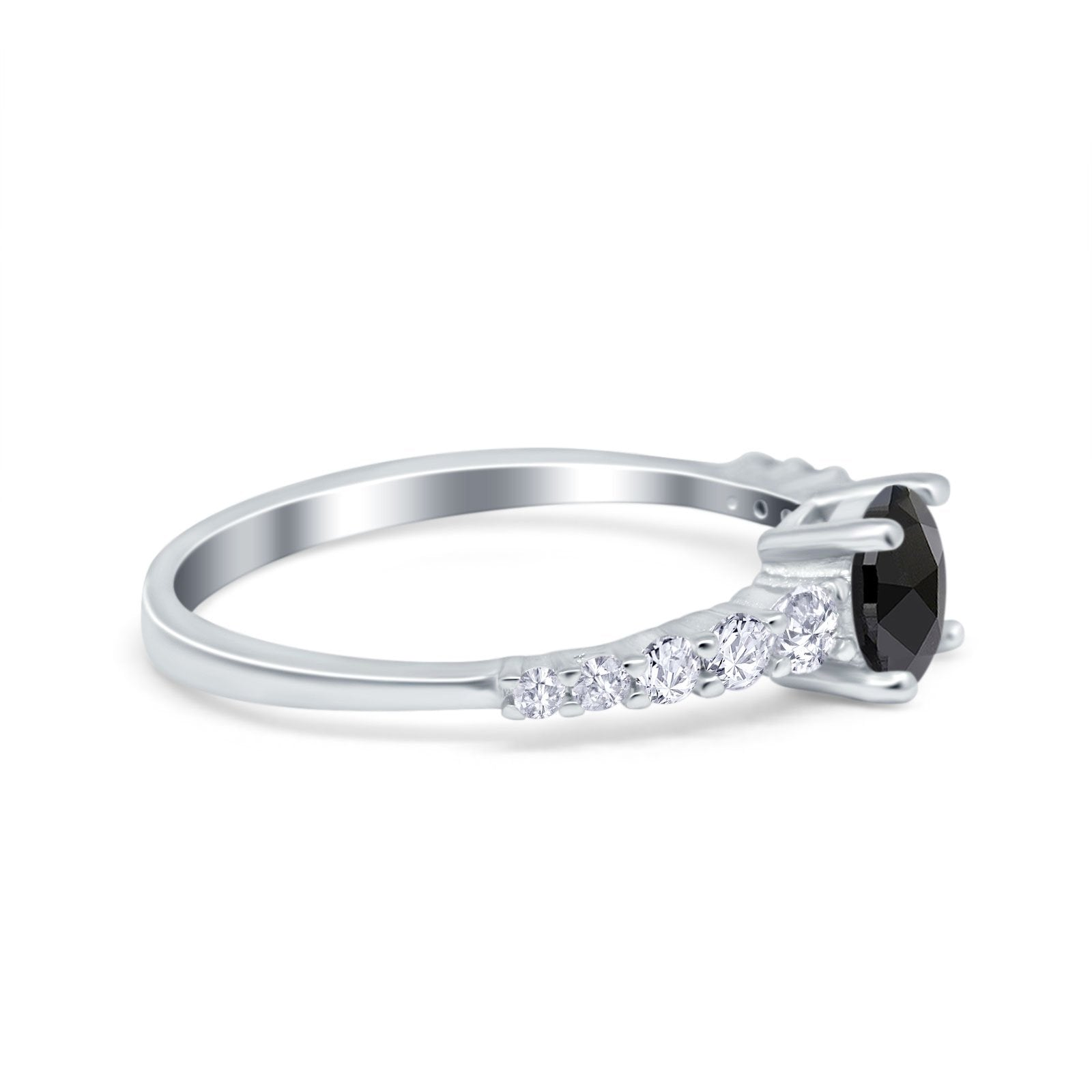 Petite Dainty Engagement Ring Round Simulated Cubic Zirconia 925 Sterling Silver