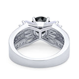 Art Dec Wedding Bridal Ring Round Simulated Cubic Zirconia 925 Sterling Silver