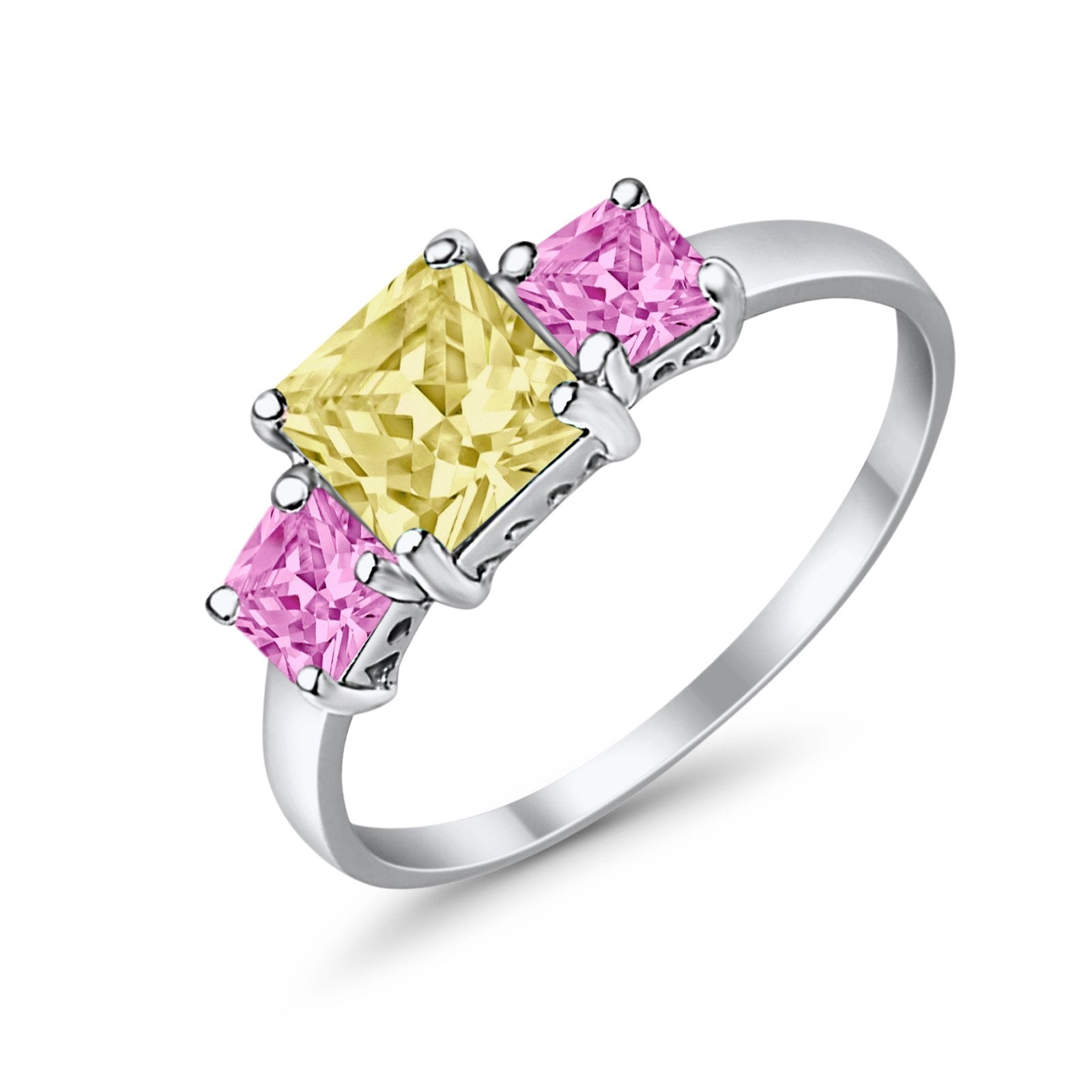 3 Stone Fashion Ring Princess Cut Simulated Cubic Zirconia 925 Sterling Silver