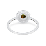 Floral Wedding Ring Petite Dainty Simulated Cubic Zirconia 925 Sterling Silver